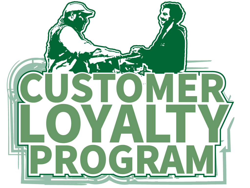 Customer Loyalty Program text with shopper and cashier icon, green and white.