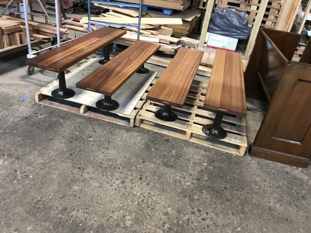 Initial completed run of 4 mahogany benches.