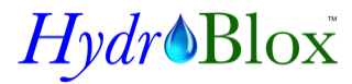 HydroBlox logo, blue and green text with water droplet.