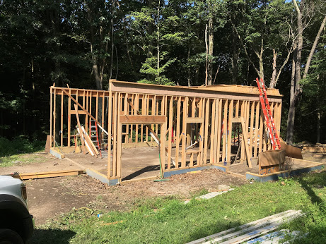 Pittsburgh Botanical Gardens barn deconstruction project in progress, with only framing still standing.