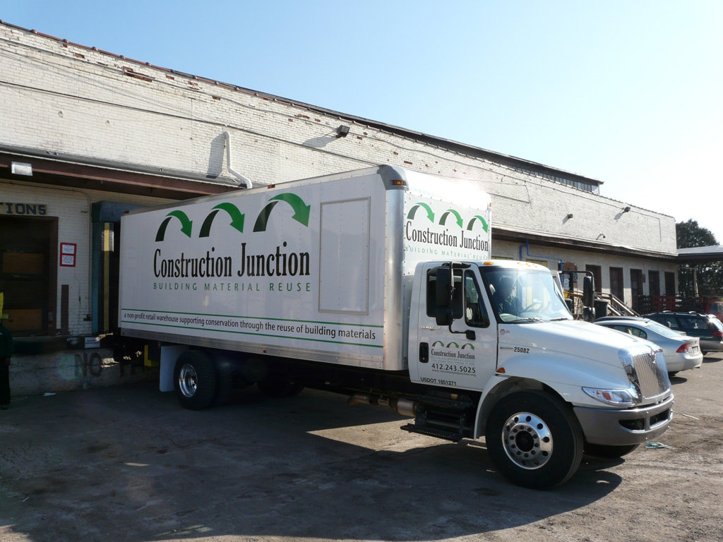 Construction Junction box truck parked in front of the loading dock.