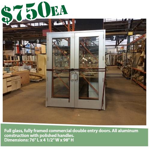 Aluminum Full Glass Double Door in Jamb