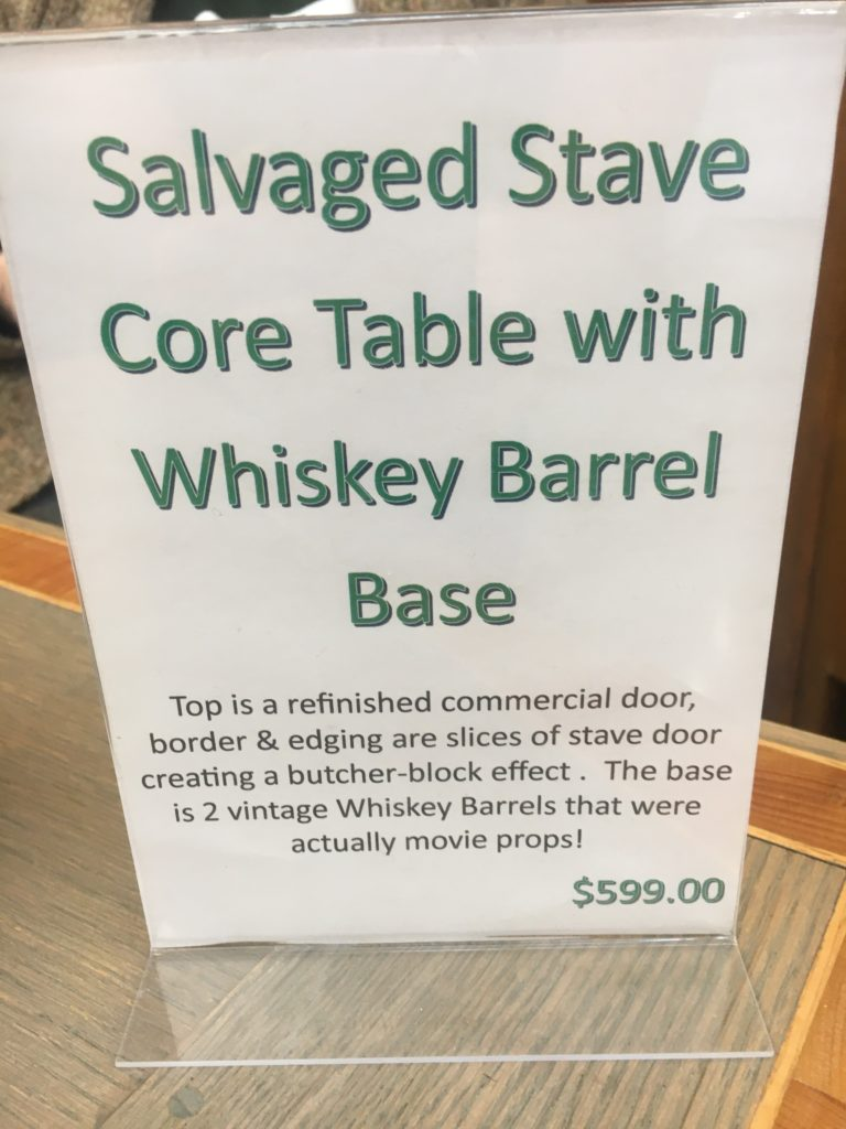 Salvaged Stave Core Table with Whiskey Barrel Base