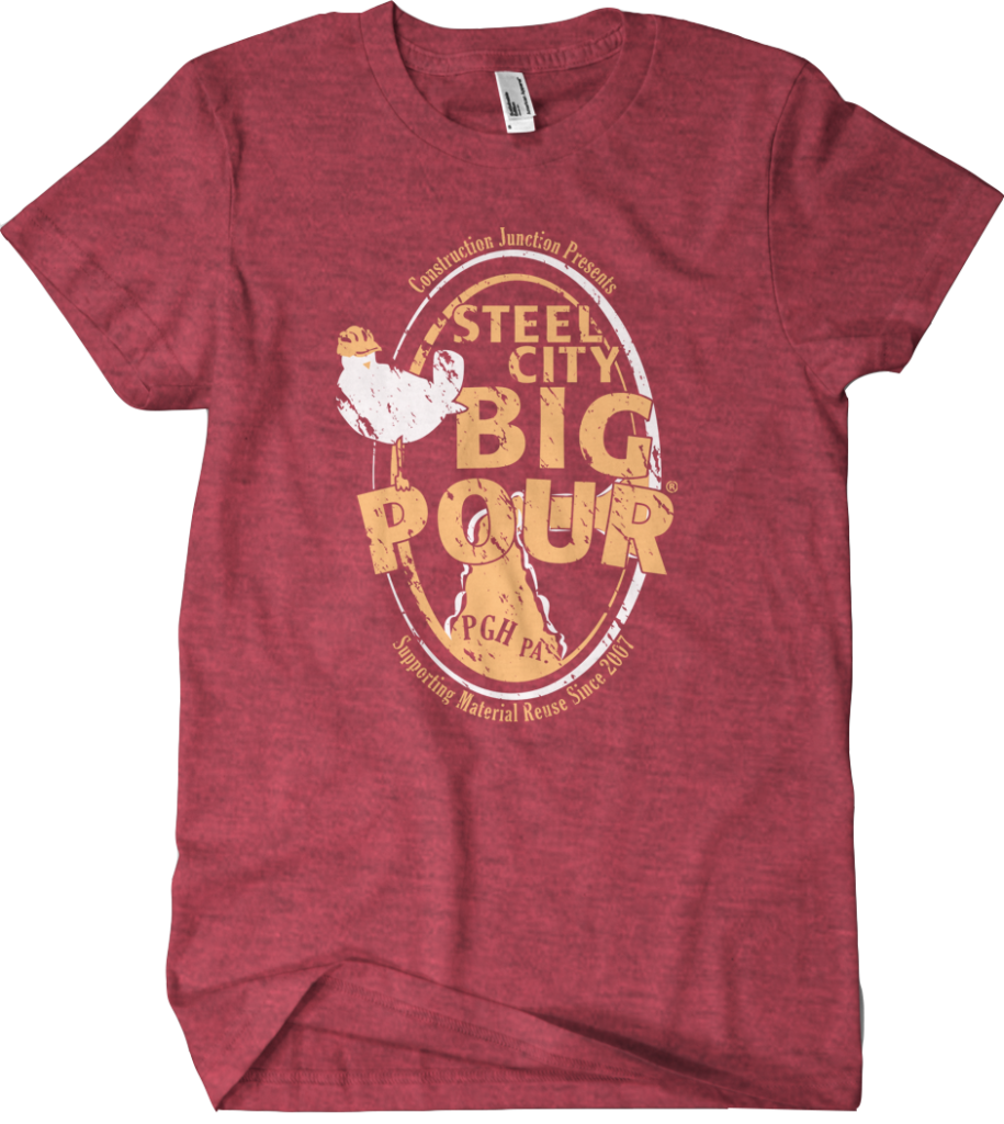 Red heather Steel City Big Pour shirt with retro style oval bottle pour and bird logo.