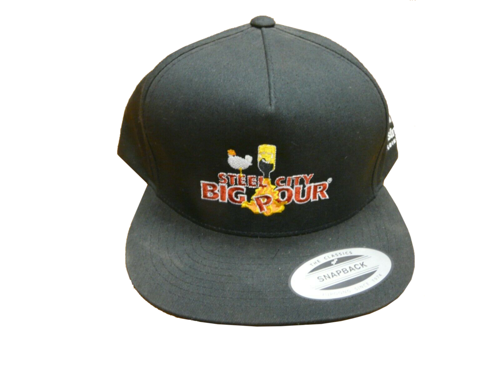 Black snapback hat with red, white, and yellow Steel City Big Pour logo with bird and pouring bottle.
