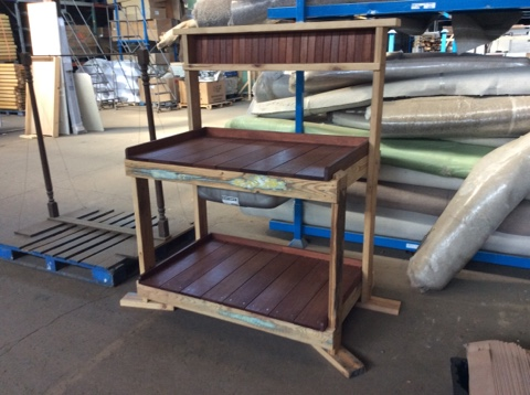 Reclaimed wood potting bench with Ipe wood