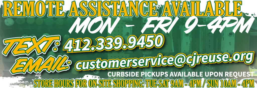 Remote shopping assistance via text or email is available Monday through Friday, 9am to 4pm. Curbside pickups are available upon request. Please click this banner for more information regarding store hours and these services.