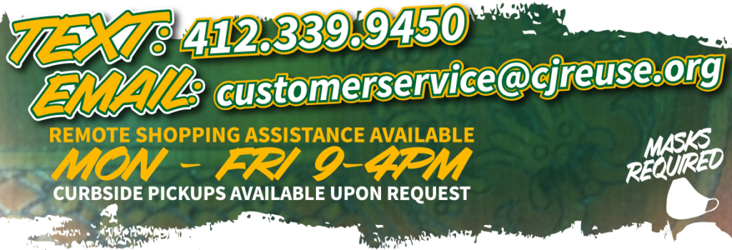 Click this banner for details about how to contact us for remote shopping assistance, M-F 9 to 4pm.