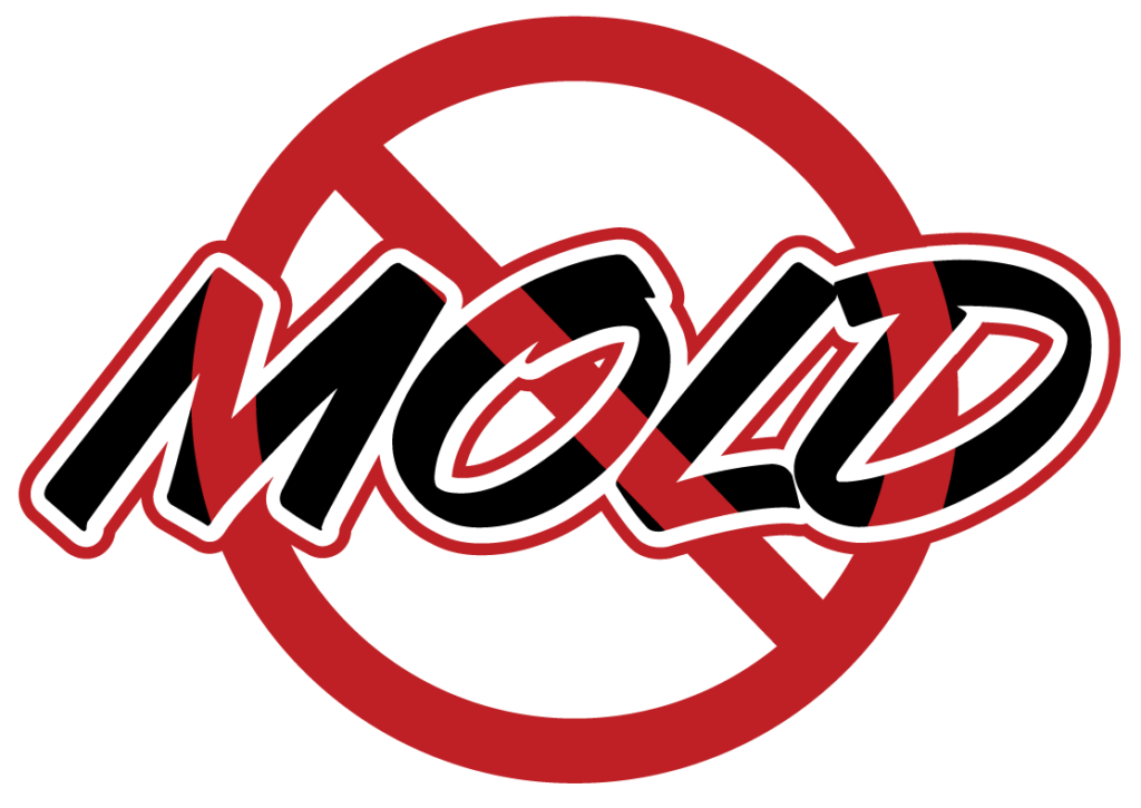 No Mold Infested Materials Accepted Image - Red circle with line crossing out MOLD text.