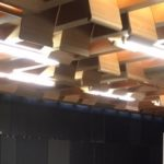 Light Diffuser Cut From Salvaged Pews in the CJ Community Room
