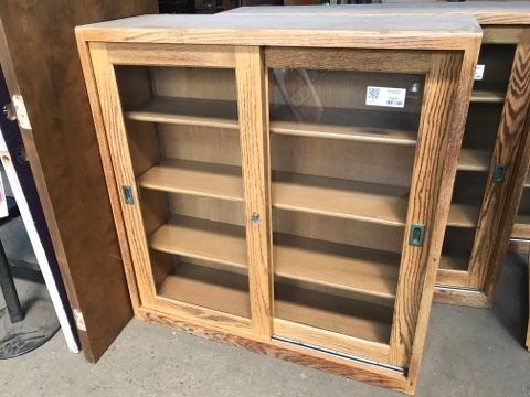 Oak Sliding Door Bookcase