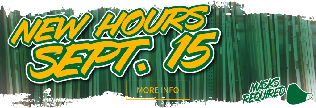 New hours of operations beginning on 9.15. Click this banner for more information.