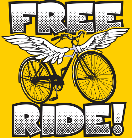 Free Ride winged bicycle logo, black and white on yellow background.