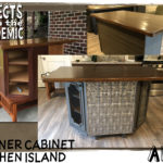 Corner Cabinet Kitchen Island - Submitted by Amy - A little ingenuity transformed this coffee table, two kitchen cabinets, a top and some stylish details into a repurposed kitchen island.