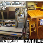 Bowling Alley Kitchen Island - Submitted by Kathleen - Never underestimate what can be accomplished with a slab of bowling lane and an old drafting table.