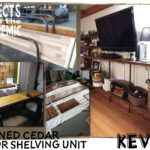 Planed Cedar Shelving Unit - Submitted by Kevin - Custom built shelving system with planed doors and pipe.