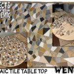 Mosaic Tile Table Top - Submitted by Wendy - Round wooden table top done in reused ceramic tile pieces.